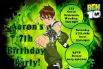 Personalised Ben 10 Invitations
